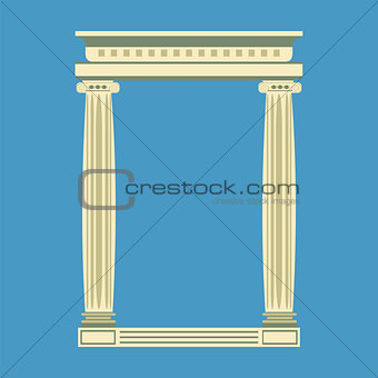 Antique marble temple front with ionic columns,