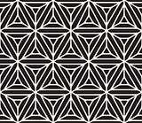 Vector Seamless Black And White Ethnic Geometric Floral Pattern