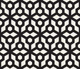 Vector Seamless Black And White Geometric Hexagon Grid Pattern