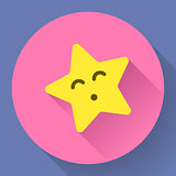 Yellow star with kiss face Vector character