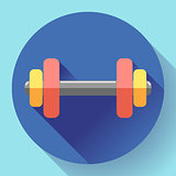 Color dumbbell icon with long shadow. Symbol of gum. Flat design style.