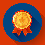 Gold shiny medal with ribbons badge icon. Flat design style.