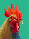 Beautiful colorful and bright polygon rooster.