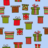 abstract vector doodle christmas presents seamless pattern