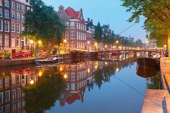 Amsterdam canal Kloveniersburgwal, Holland
