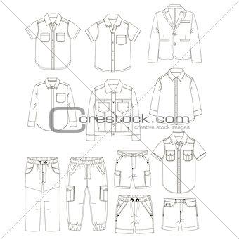 Boys clothes. Sketches.