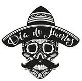 Dia de Muertos Day of Dead. Black Skull in Mexican Hat