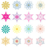 Vector Colorful Snowflakes