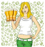 Vector Woman With Glass of Beer On Oktoberfest