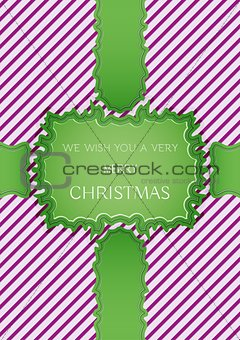 christmas card with stripes and green ribbons