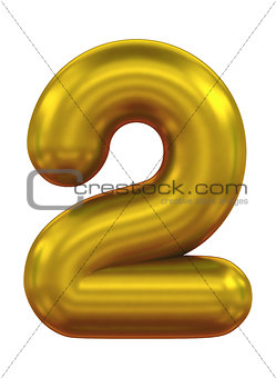 three-dimensional number in gold