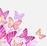 Background with pink and violet butterflies