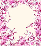 Floral frame with orchids and watercolor blots