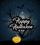 Halloween background with tree and pumpkin