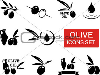 olive icons set with red signboard