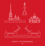 Vector illustration icon set - symbols of Saint Petersburg, Russia. Simple line drawn.