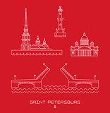 Vector illustration icon set - symbols of Saint Petersburg, Russia. Simple line drawn.