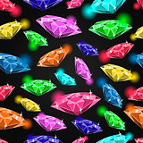 Seamless pattern with different gems