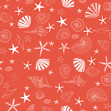 Seashells and starfish seamless pattern vector, yellow background