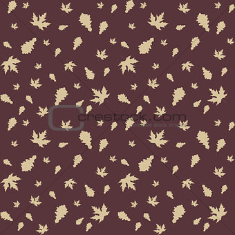 Autumn leaves of maple and oak, seamless pattern, vector illustration