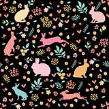 Rabbits in hearts and flowers.