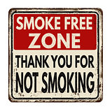 Smoke free zone.Thank you for not smoking vintage metal sign