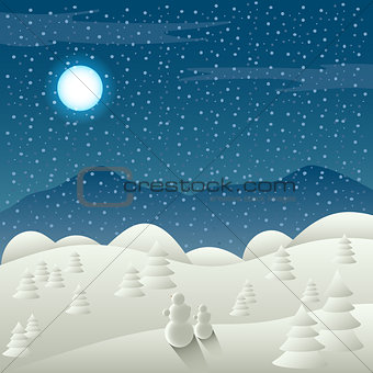Christmas card with snowy landscape and snowman