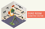 Isometric vector guns room