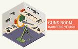Isometric vector guns room