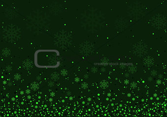 Green Christmas Snowflakes Background