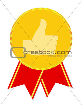 Thump Up Vector Sign Label. Vector Illustration