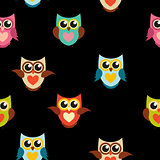 Cute Owl Seamless Pattern Background Vector Illustration