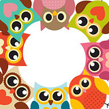 Cute Owl Pattern Background with Place for Your Text Vector Illu
