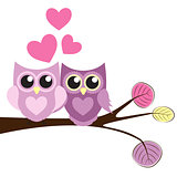 Cute Owl Pattern Background for Valentines Day with Hearts and P