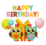 Cute Owl Happy Birthday Background with Gift Box, Balloons and P