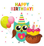 Cute Owl Happy Birthday Background with Balloons and Place for Y