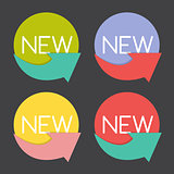New Product Label Set  in Retro Colors Vector Illustration