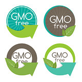 Gmo Free Label Set Vector Illustration