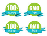 Gmo Free and 100% Natural Label Set Vector Illustration