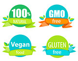 Gmo Free, 100% Natutal, Vegan Food and Gluten Free Label Set Vec