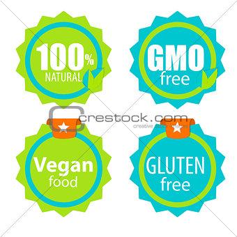 Gmo Free, 100% Natutal, Vegan Food and Gluten Free Label Set Vec