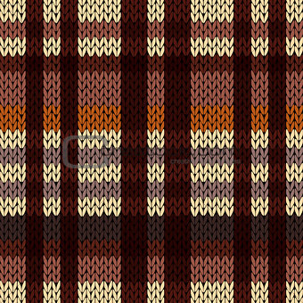 Knitting seamless pattern in brown, beige and coffee hues