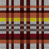 Knitting seamless pattern in brown, red, yellow, and grey hues
