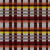 Knitting seamless pattern in brown, red, yellow, and grey colors