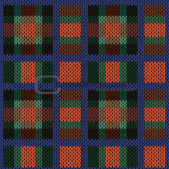 Knitting seamless pattern in red, green, blue and brown hues