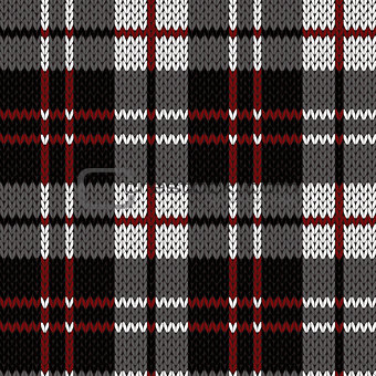 Knitting seamless pattern in red, black, white and grey hues