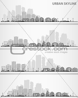 Cityscape set with small town and downtown silhouettes