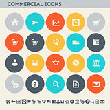 Commercial icons. Multicolored flat buttons