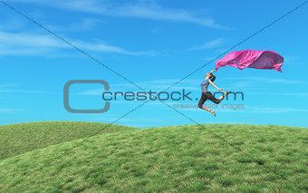 Amazing female dancer jumping