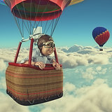 Man flies with hot air balloon